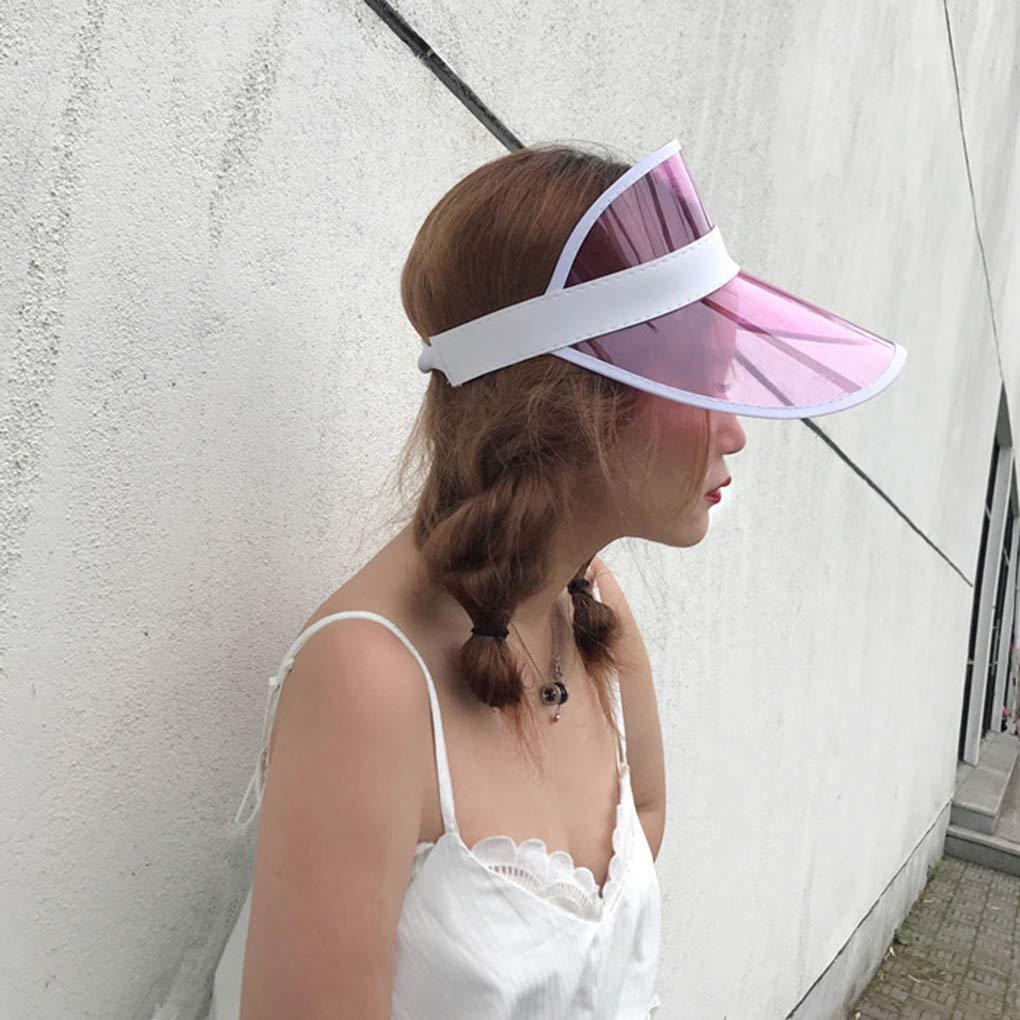 BoburyL Summer Unisex Women Men Sun Hat Candy Color Transparent Empty Top Plastic PVC Sunshade Hat Visor Caps Bicycle Sunhat
