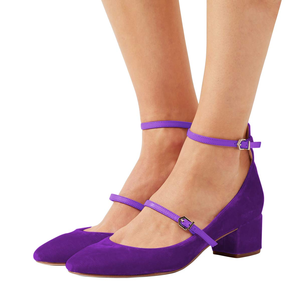 XYD Womens Retro Marry Jane Block Heel Pumps Velvet Ankle Strap Round Toe Dress Shoes Size 9 Purple