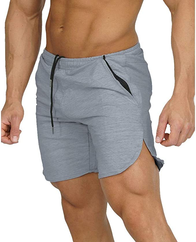FANSHONN Mens Compression Shorts Gym Bodybuilding Workout Training Short Pants with Pockets