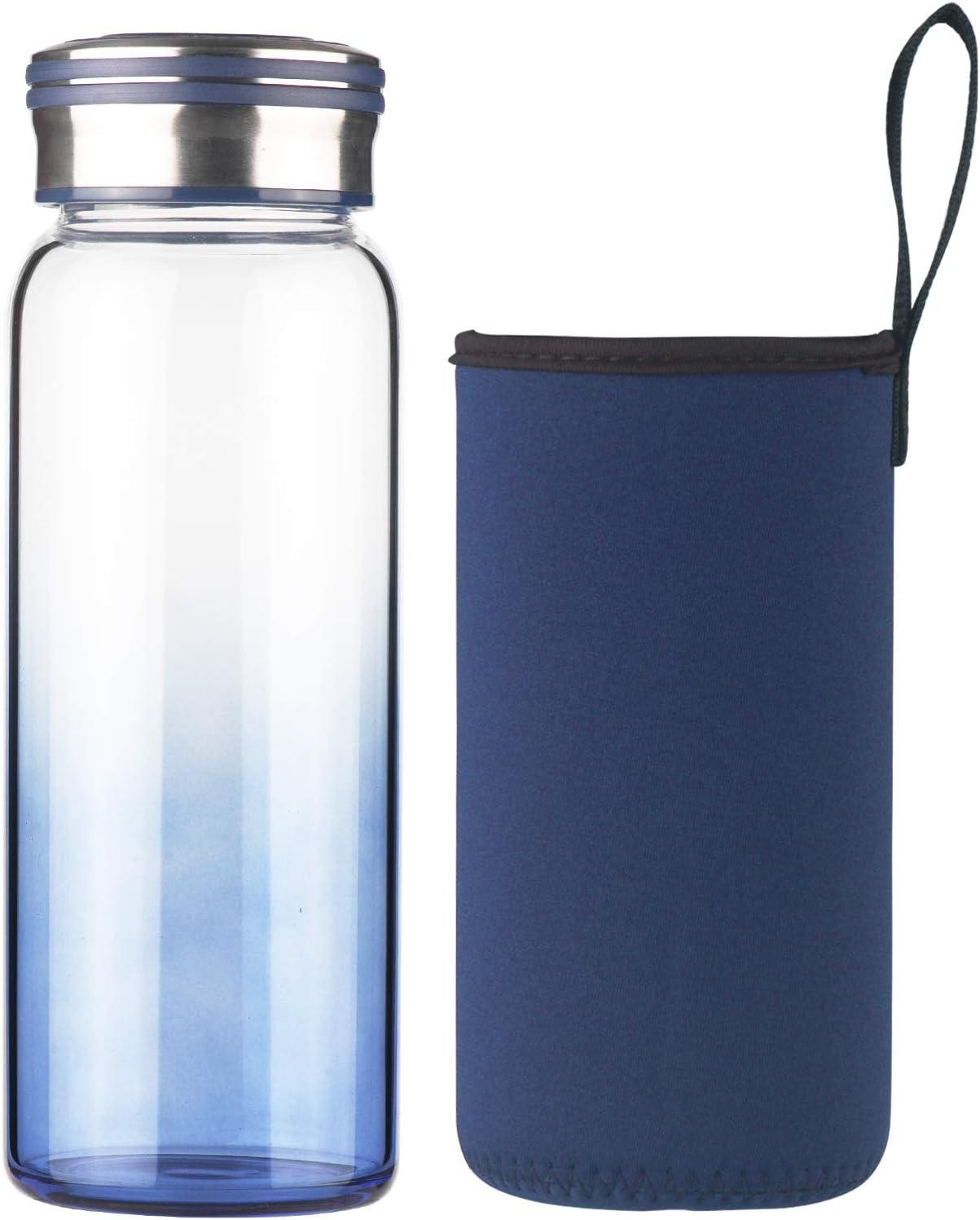 Cleesmil Botella de Agua de Cristal 750 ml / 1000 ml / 1 litro Botella de Agua de Vidrio Deportiva con Funda de Neopreno sin BPA