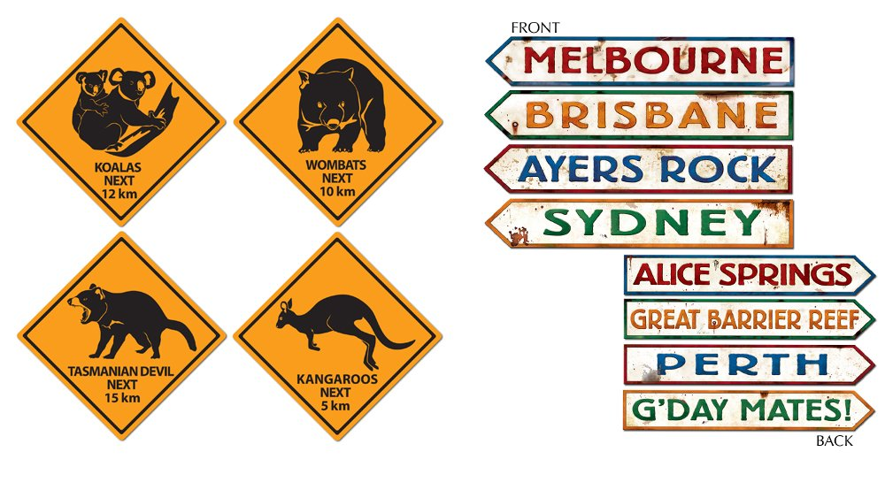 TCS Party Bundles Australian Wall Decorations 8 Piece Bundle Outback Street Signs Roadsigns by TCS Party Bundles
