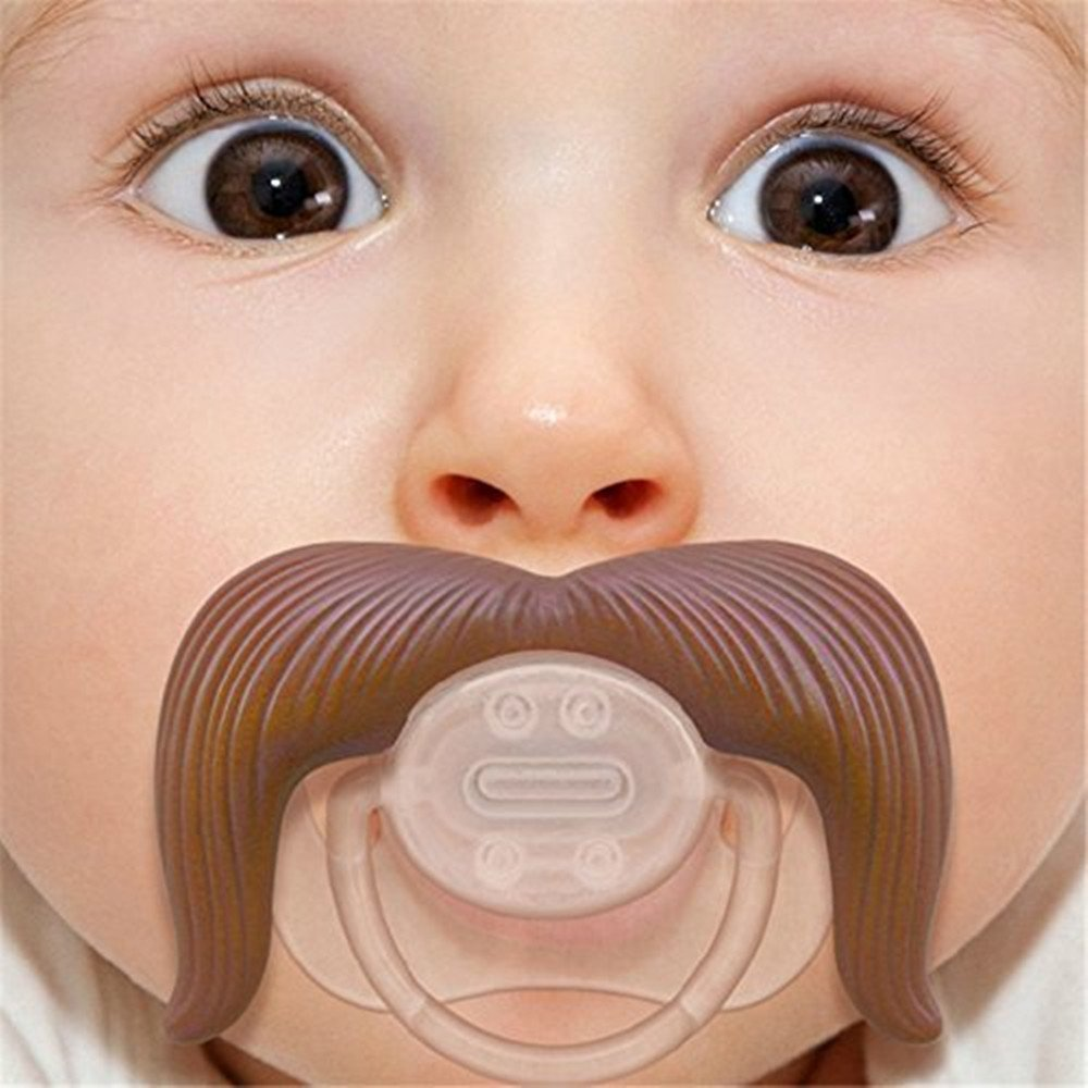 Coffee BPA Free Latex Free made With Silicone 2 Pack Baby Funny Pacifier Cute Kissable Mustache Pacifier For Babies and Toddlers Unisex