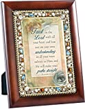 Trust in the Lord Proverbs 3:5-6 Wood Finish Jeweled 4×6 Framed Art Plaque