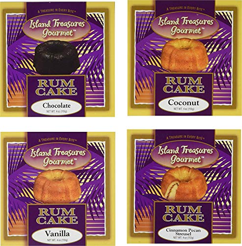 (Island Treasures Rum Cake Sampler - Four - 4 oz U.S. Made cakes one each - Vanilla - Coconut - Cinnamon Pecan Streusel - and Chocolate - Best Full Flavor Smooth Gourmet Treat – Moist Authentic (IT 4P))