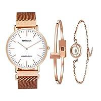MAMONA wasserdicht Uhr aus Quarz in Rosengold für Frauen als Geschenkset und Maschenarmbanduhr Ultradünn L3881RGGT