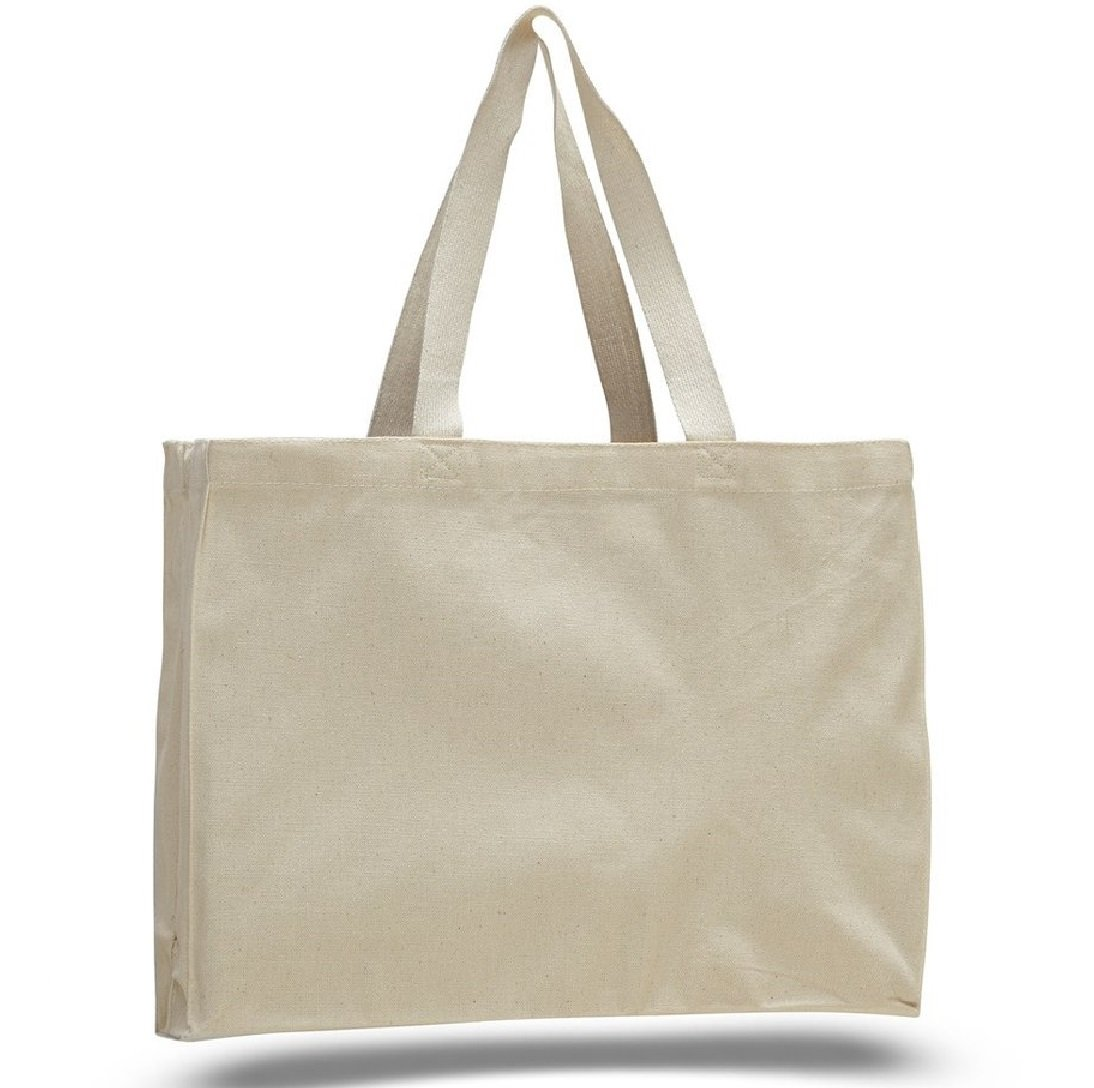 SHOPINUSA Buy Bulk ( 24PACK )Everyday Shopping Heavy Canvas Cheap Tote Bags with Full Side and Bottom Gusset (Natural) by SHOPINUSA