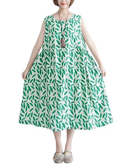 33039cc8da6 Vogstyle Femme Robe D été Longue Imprimée Chic Décontractée Débardeur Shirt  sans Manche Coupe Ample