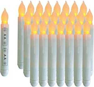 LeeHon 24PCS Yellow Mini Battery Operated Wax Dipped White Body LED Taper Candles, Amber Flickering Flameless Taper Candles for Themed Party, Church, Christmas Decorations -Batteries Not Included
