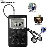 Pocket Radio,ZEERKEER Mini AM/FM Radio,Portable Digital Tuning AM FM Stereo Radio with Rechargeable Battery, LCD Display and Earphone for Walking (Black)