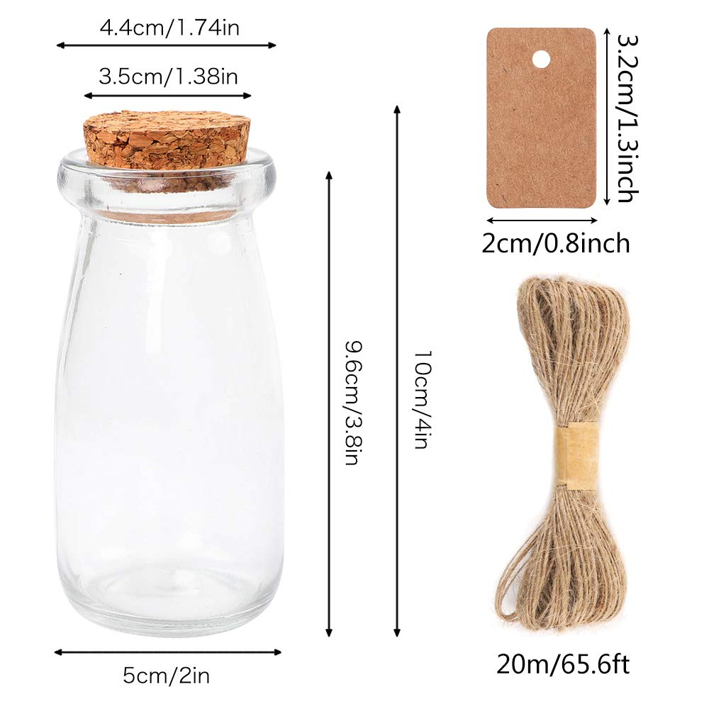 Set of 3 Small, Medium, Large JUVITUS Frosted Apothecary Plastic Jar Set with Cork Cap and Wood Spoon