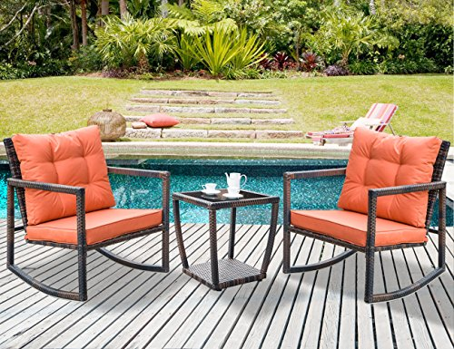Leisure Zone 3 PCS Wicker Patio Rocking Chair Armchair Outdoor Porch Deck All Weather Gliding Rocker with Coffee Table and Cushions (Orange (Outdoor Wicker Rocker)
