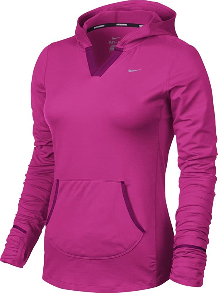0f20d995429c Amazon.com  Nike Element Womens Solid Hoody - Large - Pink Foil  Clothing