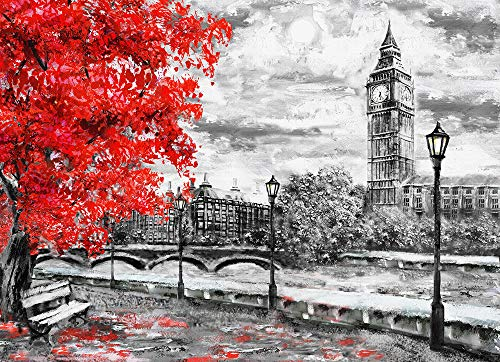 Faicai Art Black and White Wall Art HD Prints Landscape Canvas Paintings Street of London Artwork Big Ben and Red Tree England Bridge and River Modern Wall Decor for Home ()