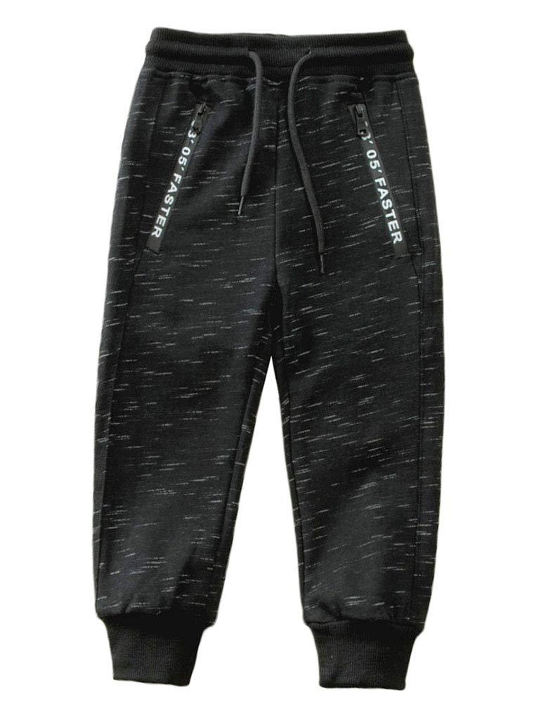 Mallimoda Boy's Knit Cotton Sweatpants Casual Sport Drawstring Waist Trousers Style 1 Black 11-12 Years