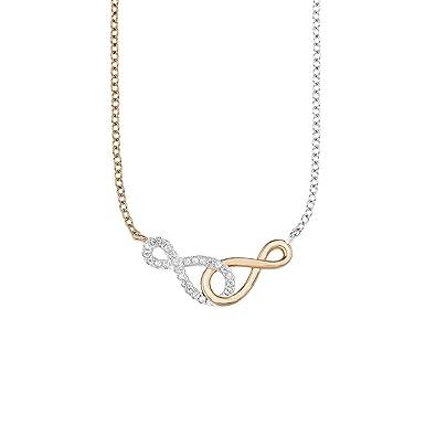 Amor Damen-Kette 42+3 cm mit Anhänger Infinity Unendlichkeitszeichen  Bicolor 925 Sterling Silber teil-rosévergoldet  Amazon.de  Schmuck 646299debd