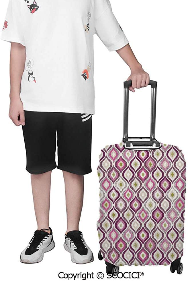 SCOCICI Travel Luggage Cover Suitcase Cover Colored Triangle Shapes Pattern Funky Geometric Abstract Elements Art Suitcase Luggage Case Covers Fits 19-32 Inch