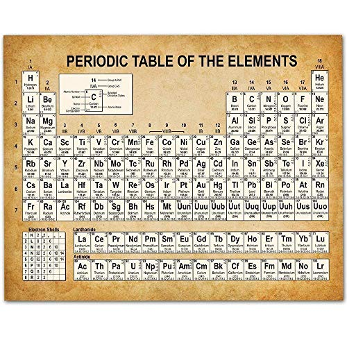 Periodic Table of Elements - 11x14 Unframed Art Print - Makes a Great Gift Under $15 for Scientists, Geeks or Classroom Decor (Vintage Periodic Table)
