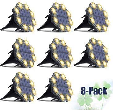 Solar Ground Lights, JESLED Upgrade 8 LED Solar Garden Lights, Pathway Landscape Lighting Solar Disk Lights, Waterproof In-ground Solar Lights Outdoor for Walkway Driveway Deck Yard Lawn Patio (8Pack)