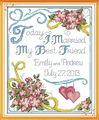 Dahlia DIY Wedding Anniversary Counted Cross Stitch Kits Print Embroidery Handmade Needlework Wall Home Decor (Size 35x42CM) ()
