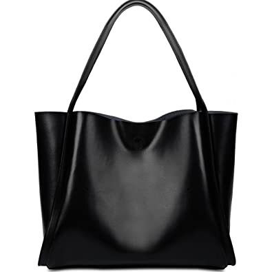 896d96396c Yaluxe Femme Cabas Sac Portatif Porté Epaule Amovible Cuir Enduit Doux  Simple Vogue Grand Capacité Noir