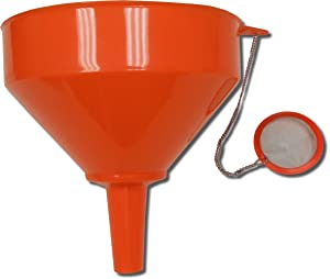 "King Kooker 8"" Plastic Cooking Oil Funnel with Attached Reusable Stainless Steel Mesh Filter"