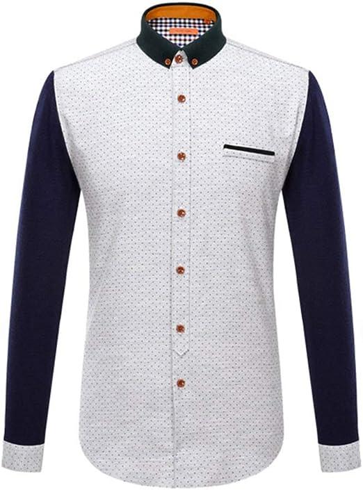 Yishelle Camisa de Hombre Camisa de Vestir de Corte Regular con Paneles de Solapa de algodón para Hombres Botones de Manga Larga Camisas con Bolsillo Camisa de Vestir Ajustada Camisa Casual: Amazon.es: