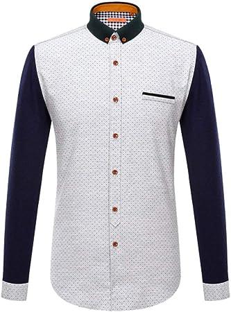AFCITY-Shirt Camisas para Hombre Camisa de Vestir de Corte Regular con Paneles de Solapa de algodón para Hombres Botones de Manga Larga Camisas con Bolsillo Elegante Camisa de Vestir: Amazon.es: Hogar