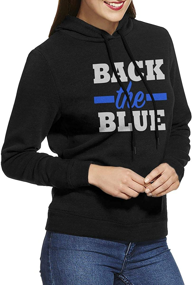 NVWEIYIJW Back The Blue Police Officer Pullover Hoodie Ladies Long Sleeve Tops Hooded Sweatshirts