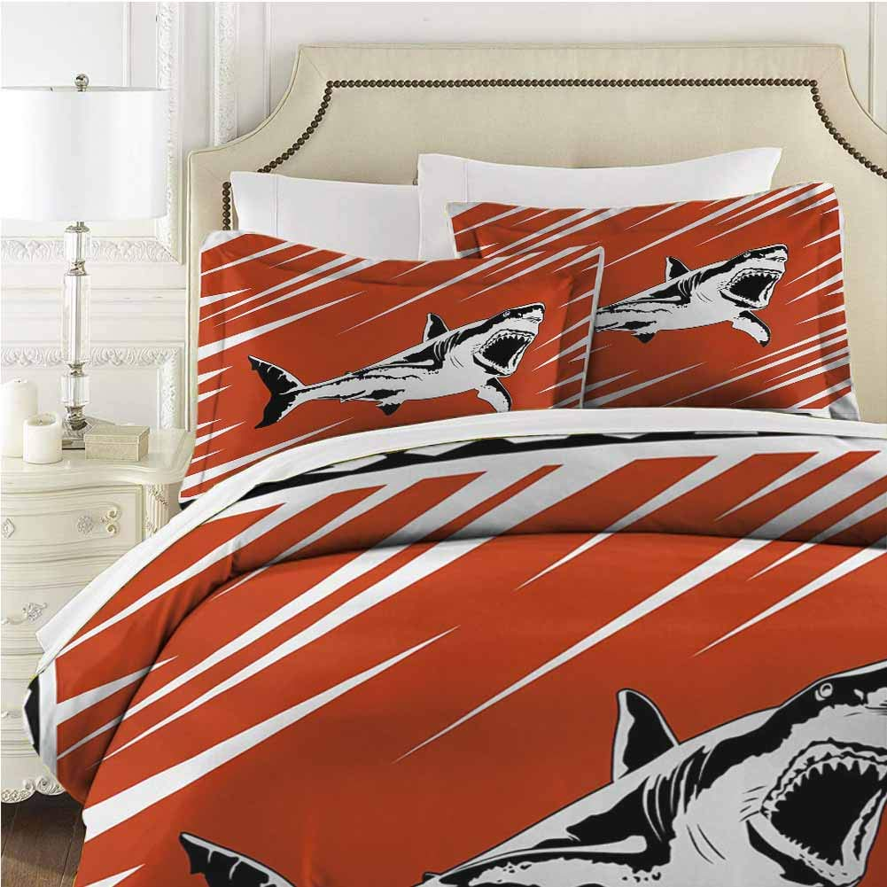 Shark Bedding Set Printed Comforter Set 3 Pieces (1 Duvet Cover + 2 Pillow Shams) with Zipper Closure Ultra - Full (80x90 inches) - Black White Burnt Sienna