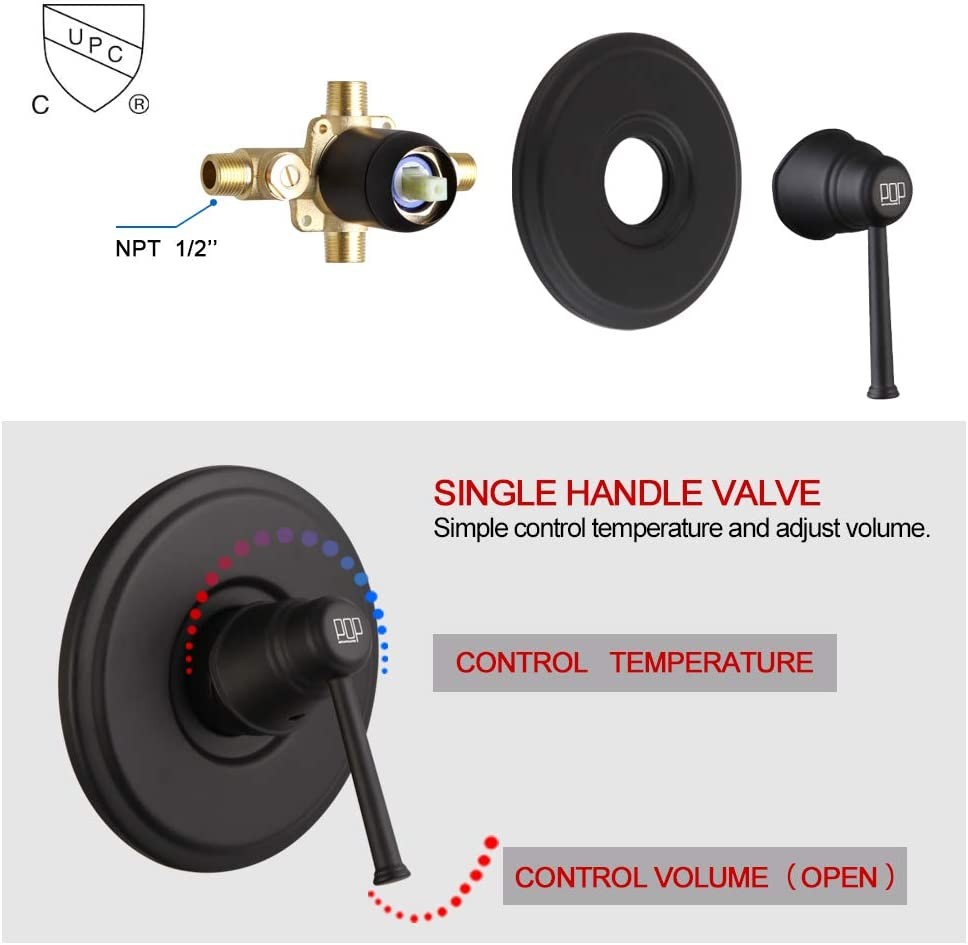 Rough-in Valve Included Tub and Shower Trim Kit with 6-Spray Touch-Clean Shower Head POP Black Shower Faucet Set with Tub Spout Bathroom Single-Handle Tub and Shower System