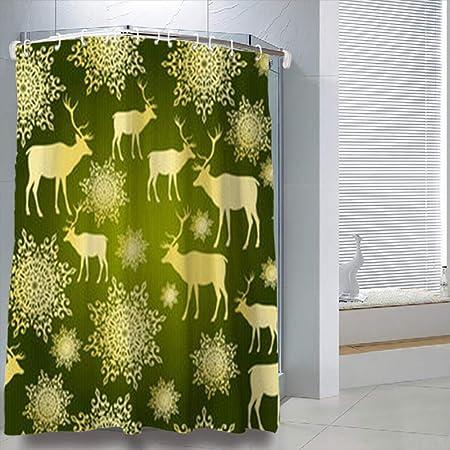 LOLYeah Shower Curtains 78 X 72 Inches Christmas Textures Holidays Deer Bathroom Bath Curtain Sets With