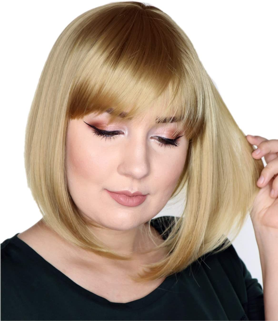 Prettyland Ash Blonde Mid Length Bob Cut Short Hair Wig Straight Bangs Natural Matt For Daily Use C450 Amazon Co Uk Beauty