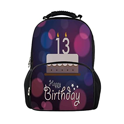 IPrint Kids School Bag 13th Birthday DecorationsHand Drawn Party Cake Number Candles Abstract Backdrop