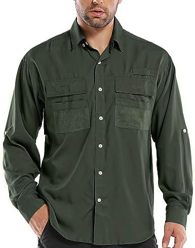 Camisa de manga larga UPF para hombre, protección UV, senderismo, pesca, safari, secado rápido, frío - Verde - X-Large: Amazon.es: Ropa y accesorios