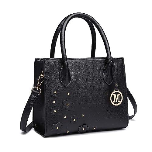 Miss Lulu Women Top Handle Bag Pebbled Pu Leather with Flower and Stud  Detail Shoulder Bag ded11df0d5876