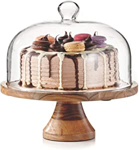 Royalty Art 4-in-1 Cake Stand with Dome, Cheese Board, Covered Platter, and Serving Tray for Pastries, Pies, Appetizers, and Holiday Treats, Decorative Kitchen Server and Display