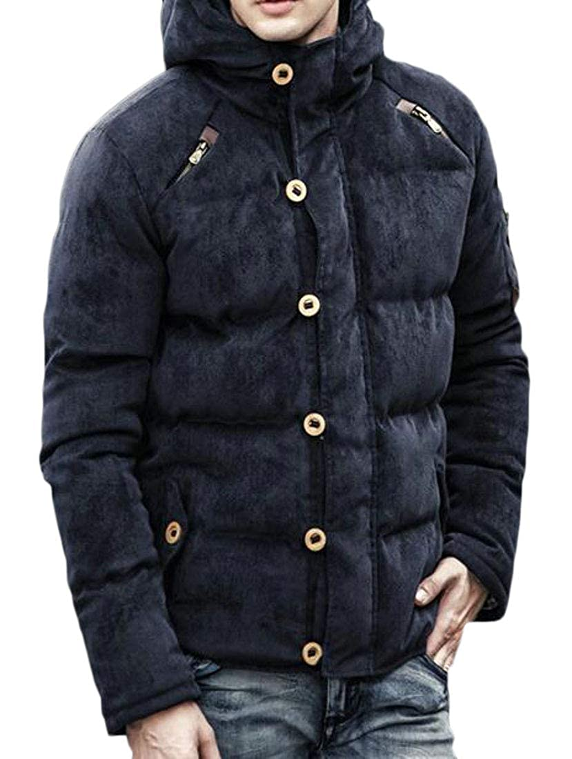 Joe Wenko Men Casual Thick Puffer Corduroy Hooded Outwear Parkas Coats Jacket