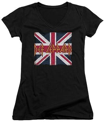 7af03530 Amazon.com: A&E Designs Juniors Def Leppard T-Shirt Union Jack Logo ...