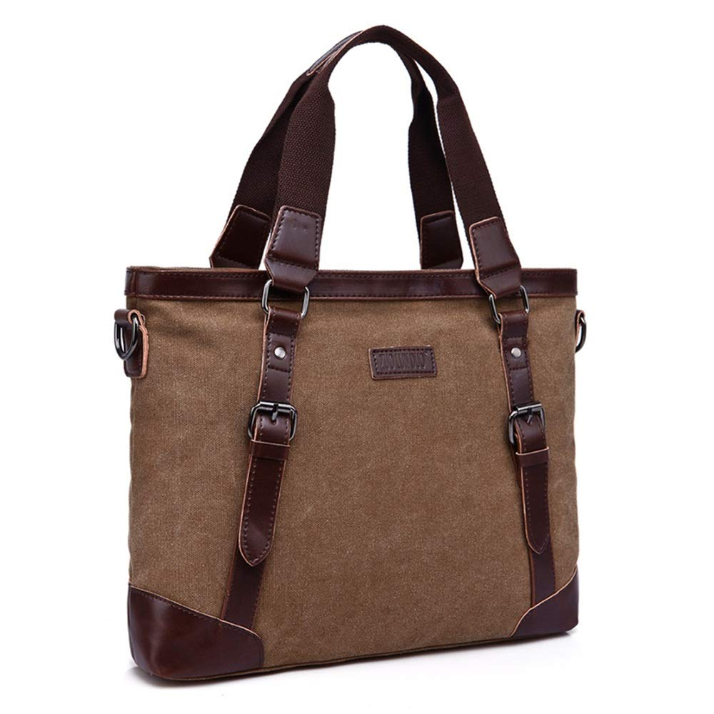 Mens briefcase Mens Crossbody Retro Canvas Shoulder Bag Work Bag XFRJYKJ Brown Business Tote Travel Briefcase 37x8x29cm