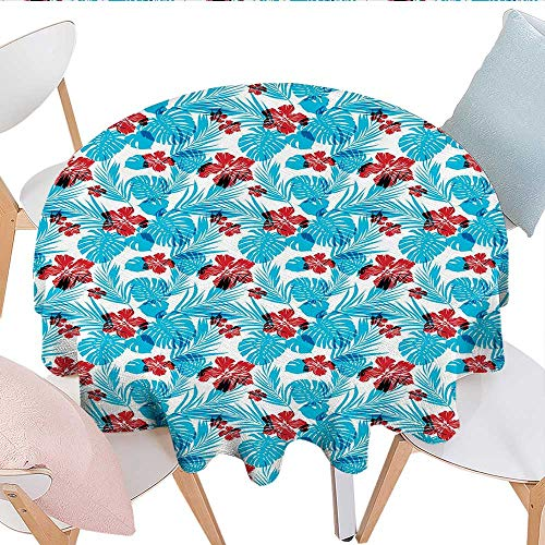 (longbuyer Luau Round Tablecloth Palm Tree Leaves with Hibiscus Petals Traditional Icons of Exotic Beach Illustration Party Tablecloth 50