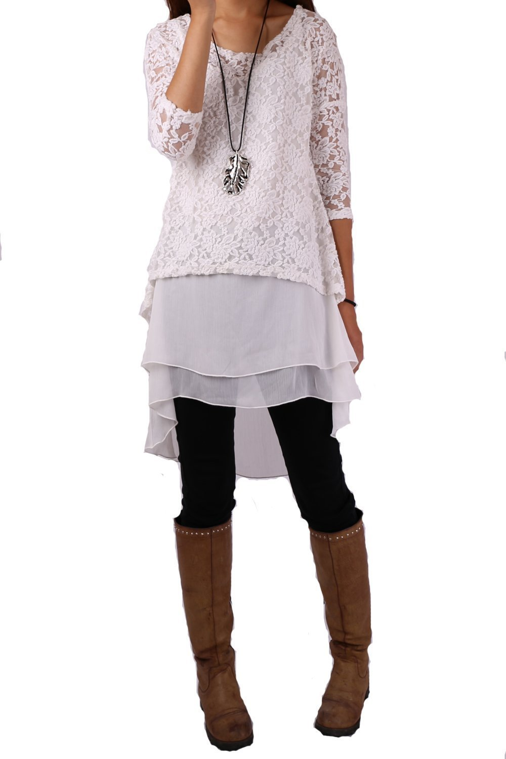 Women's Lace Chiffon Zen Layered Tunic Dress Set White