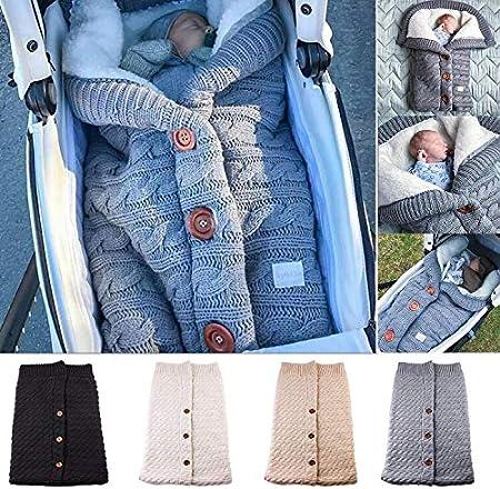 ni/ños ni/ñas cochecitos mantas de pa/ñales para beb/és unisex tejido de punto grueso para beb/és envolturas Saco de dormir para cochecito de beb/é