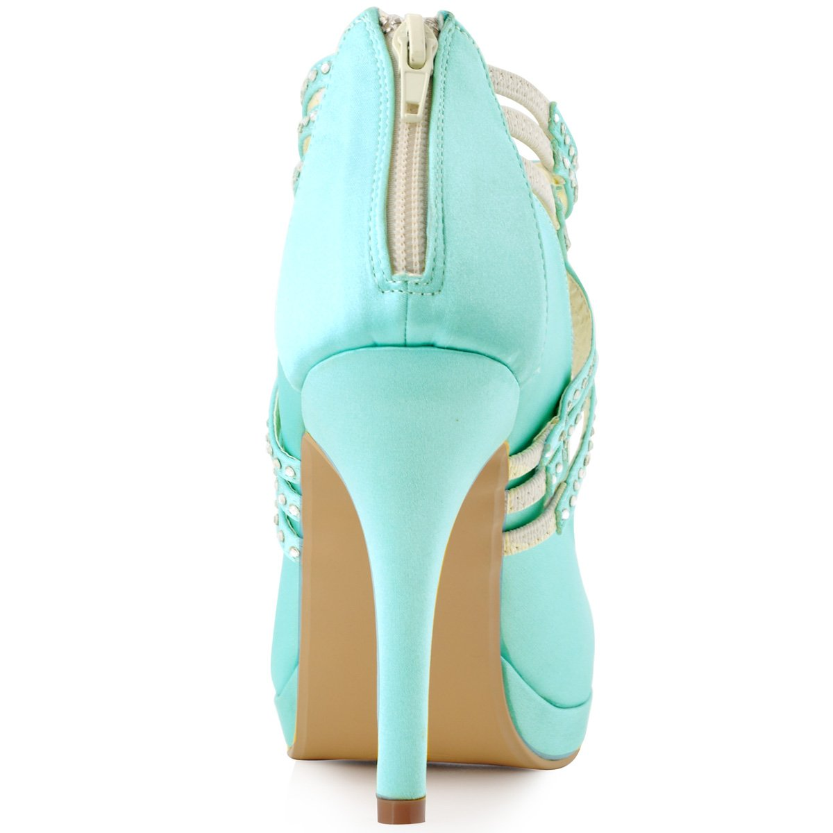 ElegantPark Women High Heel Pumps Closed Toe Platform Strappy Satin Evening Prom Dress Wedding Shoes B011B2ASTS 5 B(M) US Mint