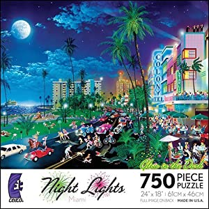 Night Lights Glow Miami 750 Piece Puzzle By Ceaco