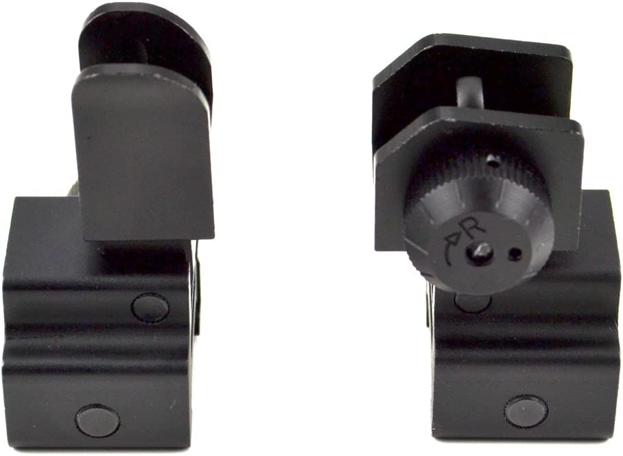 SNIPER Precision Machined Aluminum Picatinny Front And Rear Sight Combo Set, Flip-Up Backup Iron Sight Set, Aluminum, Black