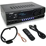Pyle 300 Watt Home Audio Power Amplifier - Stereo Receiver w/USB, AM FM Tuner, 2 Microphone Input w/Echo for Karaoke, Great Addition To Your Home Entertainment Speaker System - PT560AU