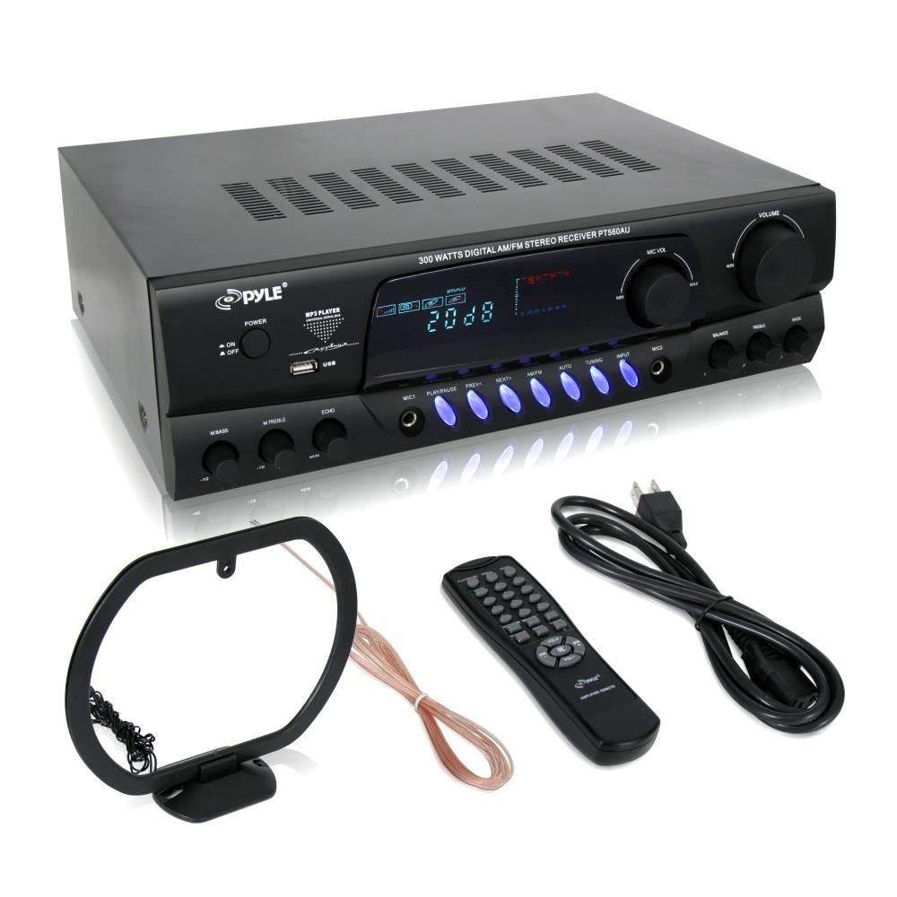 Pyle 300 Watt Home Audio Power Amplifier - Stereo Receiver w/ USB, AM FM Tuner, 2 Microphone Input w/ Echo for Karaoke, Great Addition To Your Home Entertainment Speaker System - PT560AU by Pyle