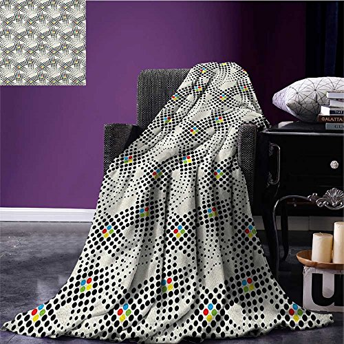 Abstract Printed blanket Stylized Dots Polkadots Simple Classic Illustration Waves Pattern minion blanket Black White Multicolor (Black Wave Pattern)