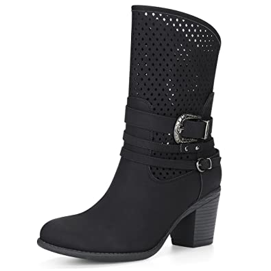 61cb35401e64 Allegra K Women s Stacked Heel Buckle Straps Perforated Boots (Size US 6)  Black