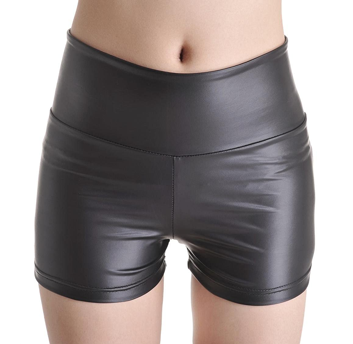 Long-Perfect Fashion Faux Leather Shorts High Waist Hot Pants Black